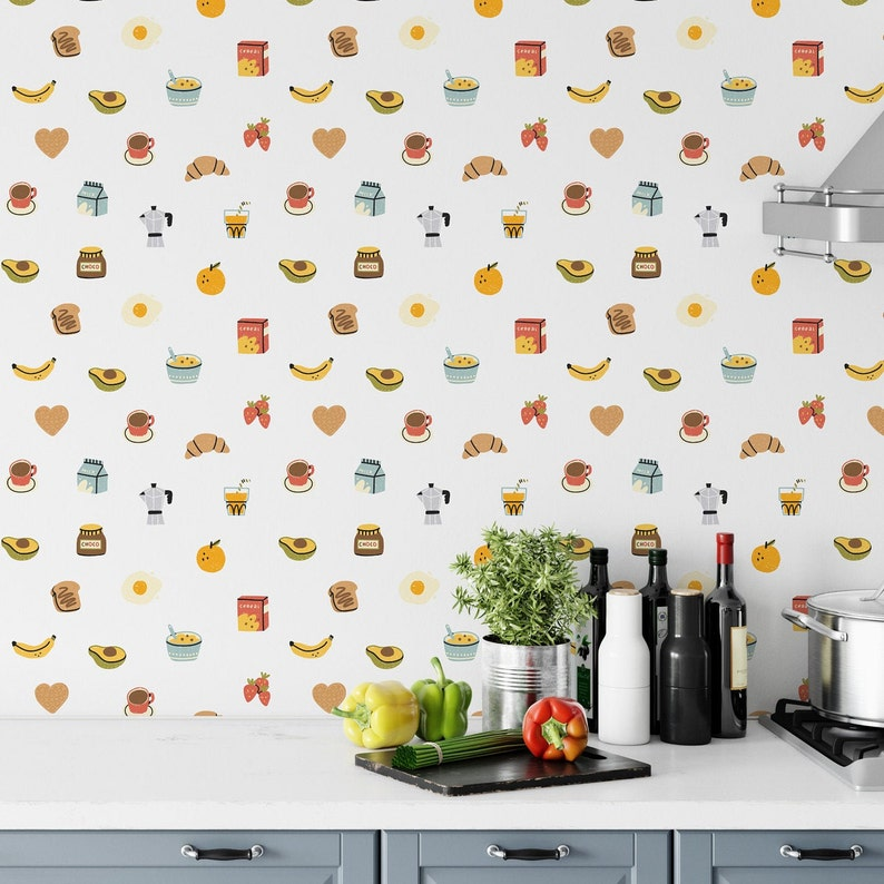 Cute Kitchen Wallpaper Removable Wallpaper Peel And Stick Etsy