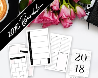 A6 RINGS INSERT // 4 Quarter Bundle >> **On Sale! ** Save 60%** >> 2018 Planner >> Week on Two Pages (W2P) >> Quill & Leaf