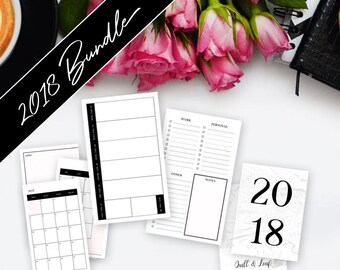 PERSONAL RINGS INSERT // 4 Quarter Bundle >> **On Sale! ** Save 60%** >> 2018 Planner >> Week on Two Pages (W2P) >> Quill & Leaf