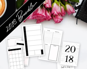 A6 TN INSERT // 4 Quarter Bundle >> **On Sale! ** Save 60%** >> 2018 Planner >> Week on Two Pages (W2P) >> Quill & Leaf