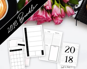 B6 SLIM INSERT // 4 Quarter Bundle >> **On Sale! ** Save 60%** >> 2018 Planner >> Week on Two Pages (W2P) >> Quill & Leaf