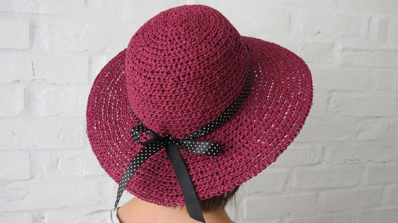 9c62d81c Burgundy raffia hat READY Crochet sun hat women Summer straw | Etsy