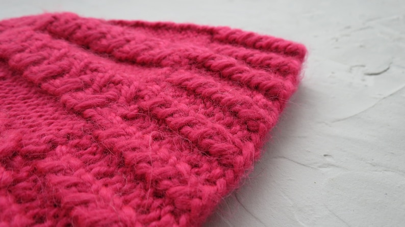 Alpaca cowl Hot pink neck warmer scarf women Wool circle scarf Knit hat beanie Crochet cute teen cap Headwarmers Valentines day gift for her