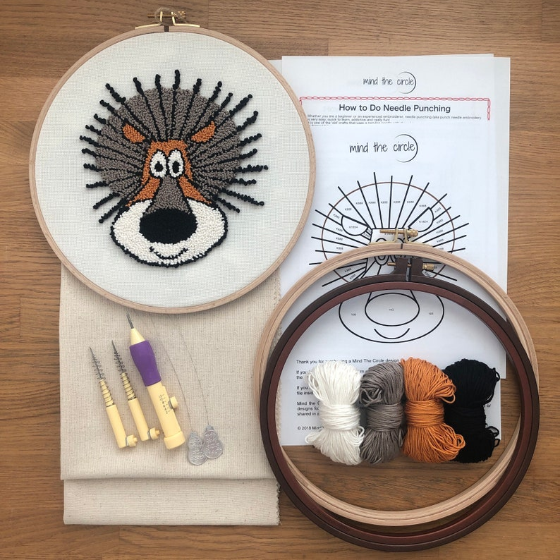 Punch Hoops Punch Needle Fabric Punch Yarns and Full Instructions Beginner Kit Punch Needle with Adjustable Punch Needle