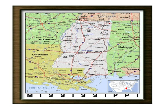 Old Map of Mississippi, Alabama, Tennessee, Arkansas, Louisiana,