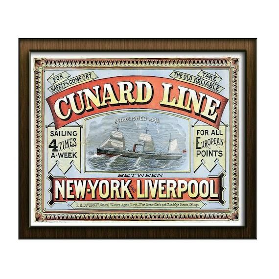 Cunard Line New York Liverpool 1875 Vintage Fine Art Print