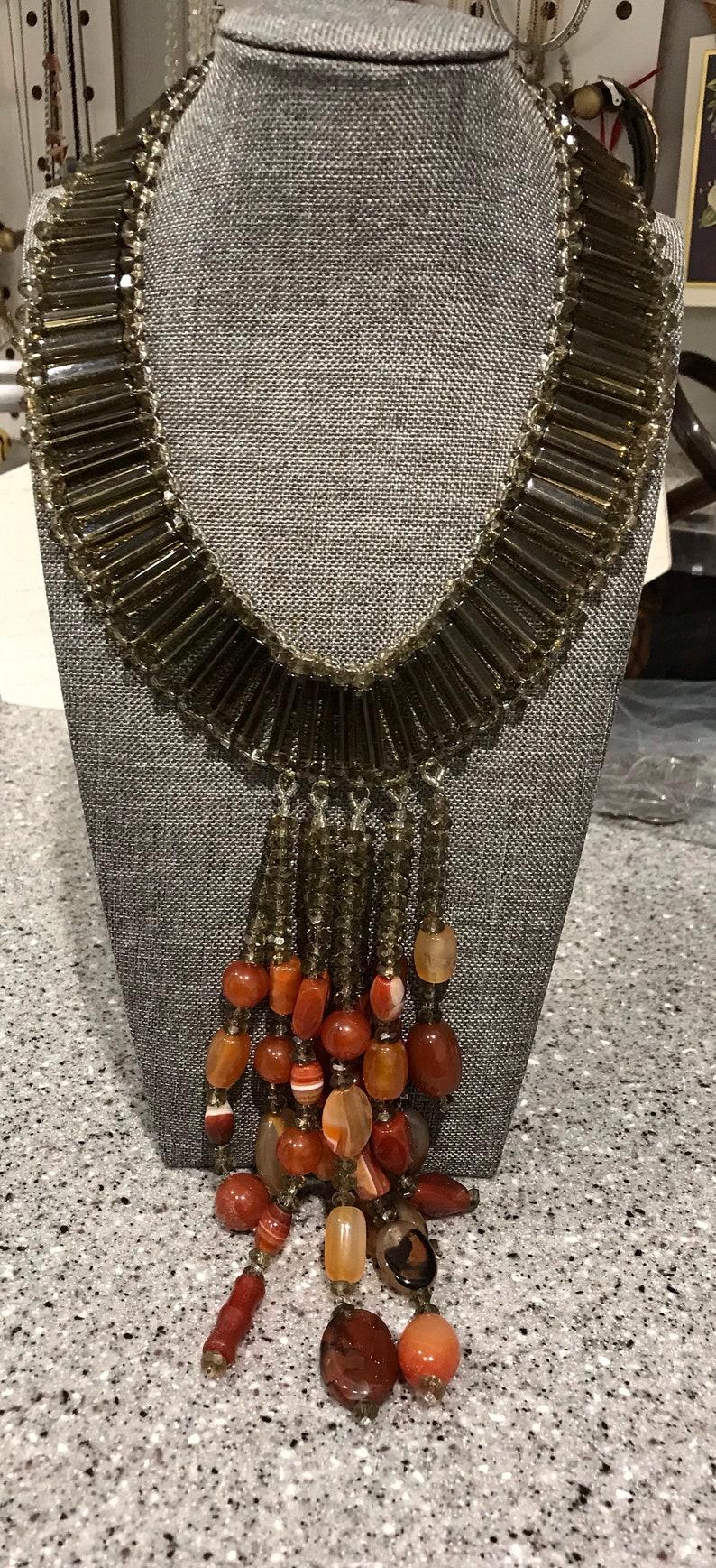 KeenlyDesigned carnelian and Czech smoky glass rod statement necklace