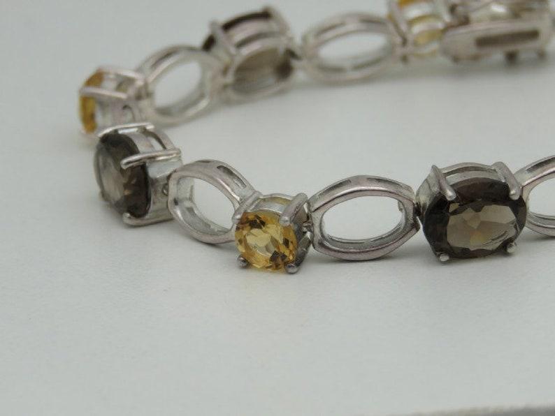 Fantastic fine silver work sterling smoky quartz and citrine bracelet 20g