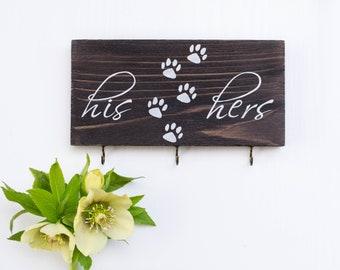 His hers dog key holder, his hers dog key hanger, his hers key organizer, dog Leash holder, key and leash holder, key holder for wall