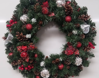 Pine Christmas Wreath in Red & Silver