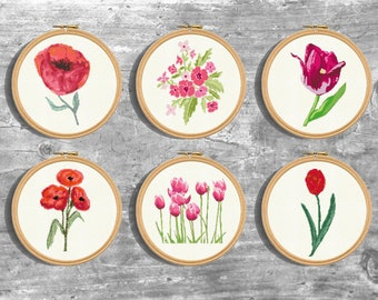 Flowers Cross Stitch Patterns Set. Flower Cross Stitch Pdf. Modern Counted Stitch Pattern. Flower Bouquet Design. Pdf Instant Download.