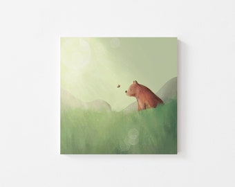The Bear and the Butterfly Print - Illustration, Perfect Gift, Square Print, Affordable Artwork