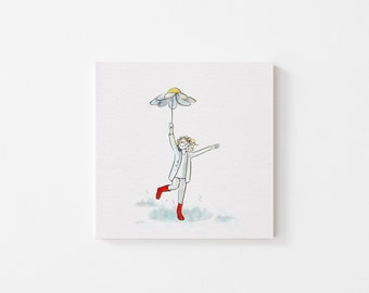 Daisy Umbrella Print - Illustration, Perfect Gift, Square Print, Affordable Artwork