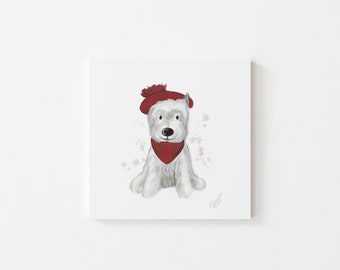 Westie Print - Illustration, Perfect Gift, Square Print, Affordable Artwork