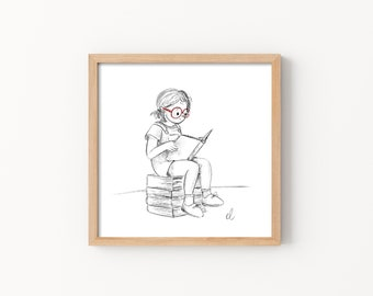 A Girl and her Books Print - Illustration, Perfect Gift, Square Print, Affordable Artwork