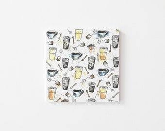 Coffee Lover Print - Illustration, Perfect Gift, Square Print, Affordable Artwork