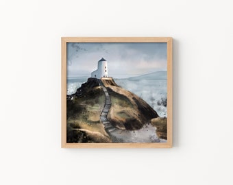 Welsh Cliffside Print - Illustration, Perfect Gift, Square Print, Affordable Artwork