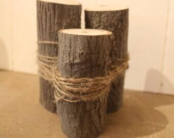 Bundled live edge natural hardwoods centerpiece or mantle decoration