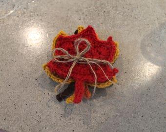 Set of Four Autumn Leaf Coasters Crochet Thanksgiving Fall Autmun Tableware