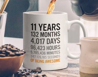 11th Birthday Gift 11 Eleven Years Old All Measures Of Being Awesome Anniversary Mug For Kids Son Daughter Boy Or Girl