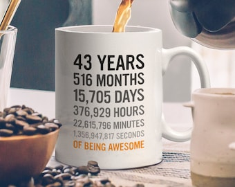 43rd Birthday Gift 43 Forty Three Years Old Months Days Hours Minutes Seconds Of Being Awesome Anniversary Bday Mug For Men Women