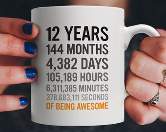 12th Birthday Gift 12 Twelve Years Old All Measures Of Being Awesome Anniversary Mug For Kids Son Daughter Boy Or Girl