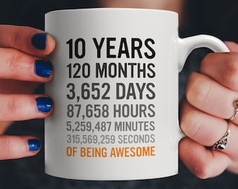 10th Birthday Gift 10 Ten Years Old All Measures Of Being Awesome Anniversary Mug For Kids Son Daughter Boy Or Girl