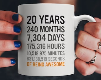 20th Birthday Gift 20 Twenty Years Old Months Days Hours Minutes Seconds Of Being Awesome Anniversary Bday Mug For Young Adults