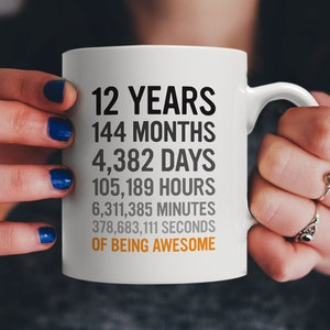 12th Birthday Gift 12 Twelve Years Old All Measures Of Being Awesome Anniversary Mug