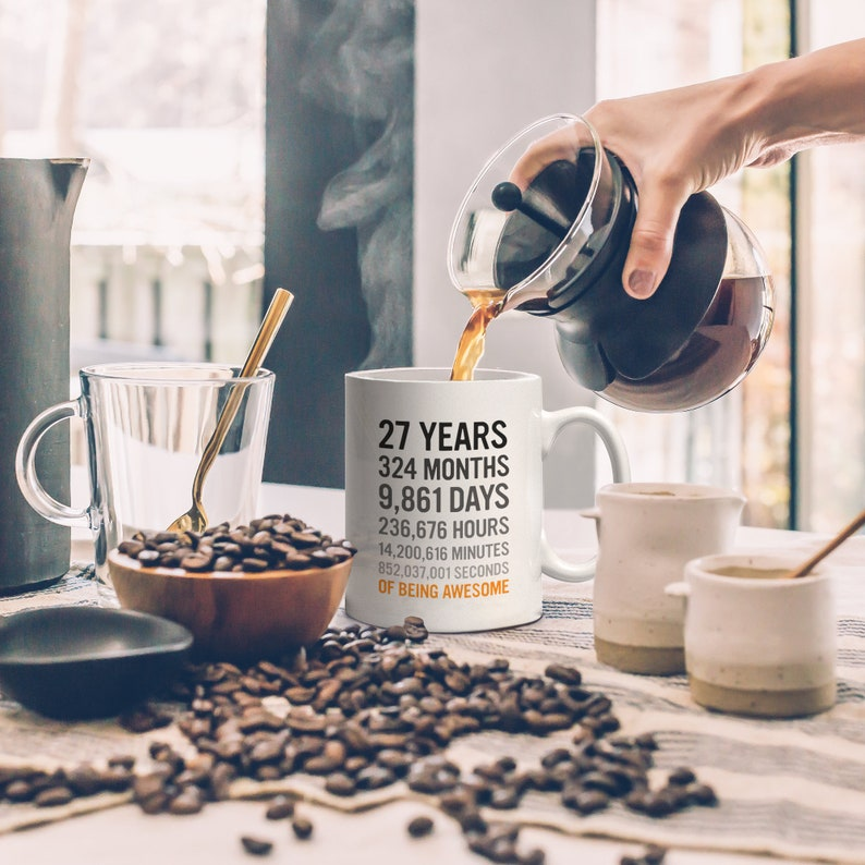 27th Birthday Gift 27 Twenty Seven Years Old Months Days Hours Minutes Seconds Of Being Awesome Anniversary Bday Mug For Young Adults