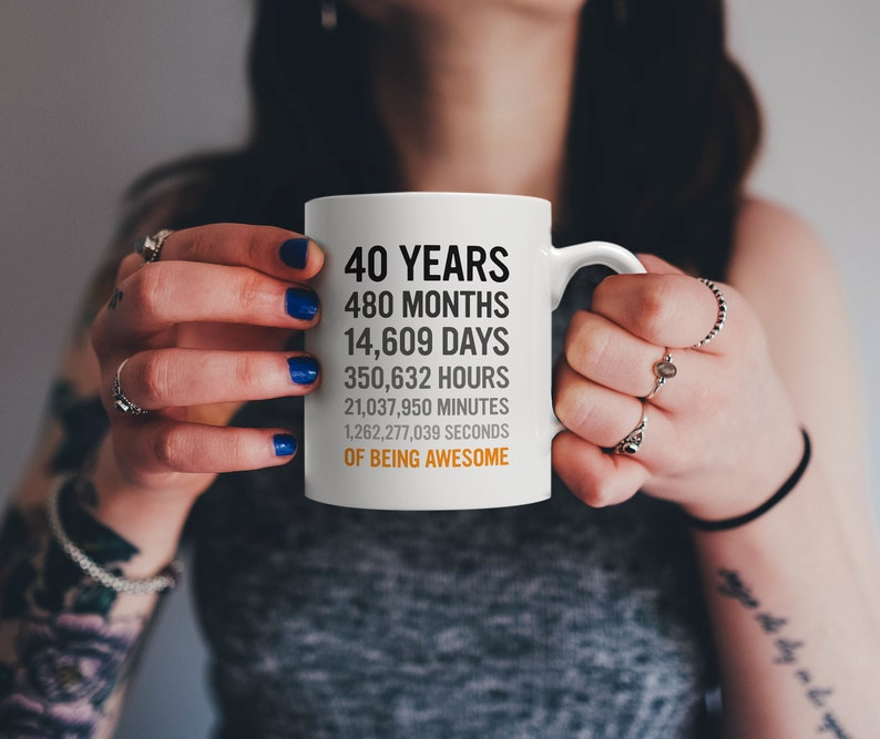 40th Birthday Gift 40 Forty Years Old Months Days Hours