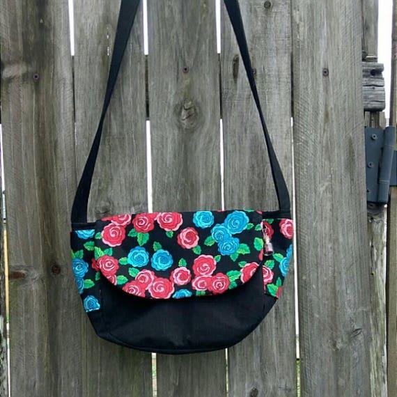 Style de roses sacoche Messager arrondis sac sac à main Pâques printemps rouge bleu vert noir pailleté charme amour fleur rose femmes enfants filles