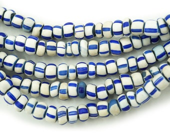 11 Old Venetian Wrap Glass Beads Barrel-shaped Striped Glass Beads Blue Red Stripes White Africa Trade