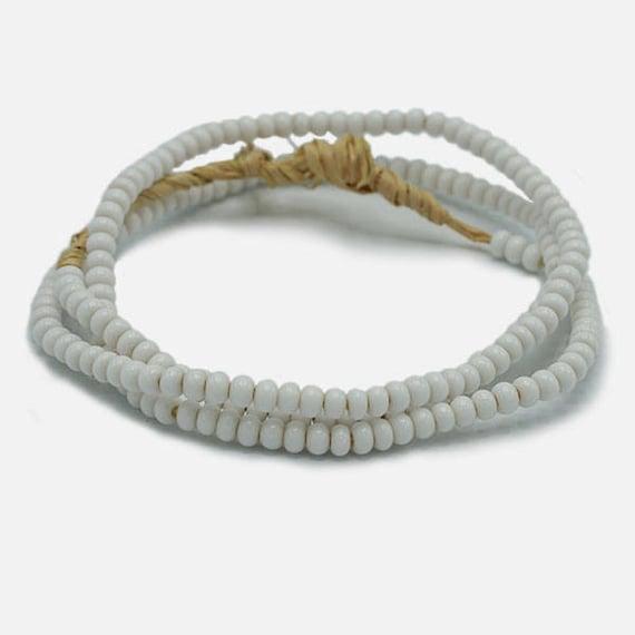 White Ghana Glass Beads 4mm African Seed 25 Inch Strand Handmade