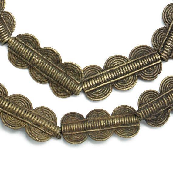 17x24mm 260-IVC-MET Handmade Metalwork - Ivory Coast African Trade Beads 22 Brass Baule Beads Rectangular Fair Trade Wholesale