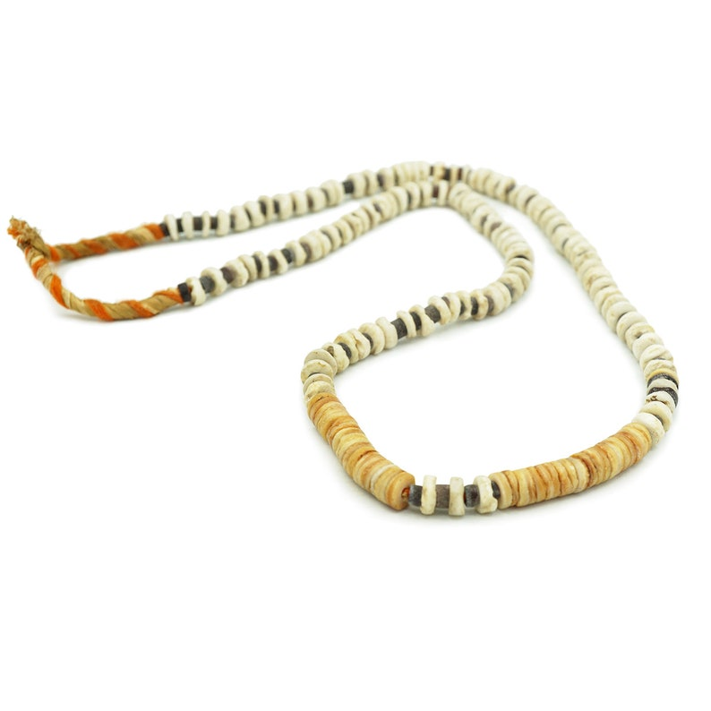 Tribal Artisan Trade Beads 1324F45 8mm Antique Rustic Sliced Heishi Black White and Brown Shell Mixed Shell Beads African