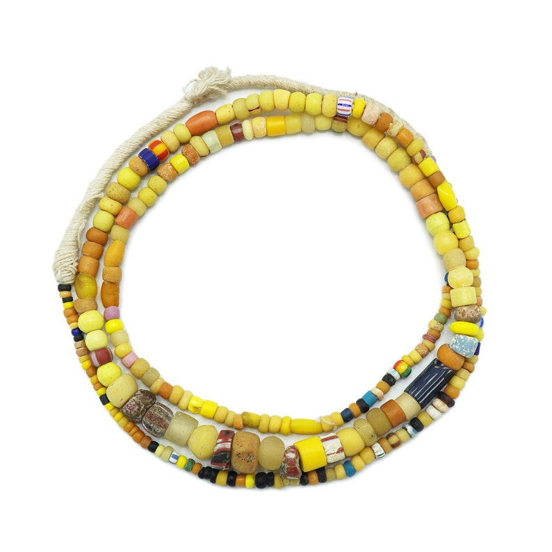 African Rare Yellow Orange and Black Venetian 1110P125 Antique Roman Glass Old Trade Beads Ancient Excavated Djenne Beads from Mali