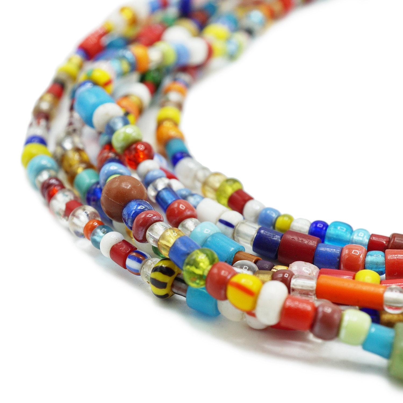 Old Navy Blue Kenya Turkana Beads 5mm Ghana African Cylinder Glass Handmade