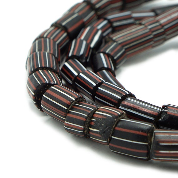 73 Large Antique Black Striped Venetian Glass Tube Beads 7-11mm 573-P140 Ancient 300 years old African African Tribal Trade Beads