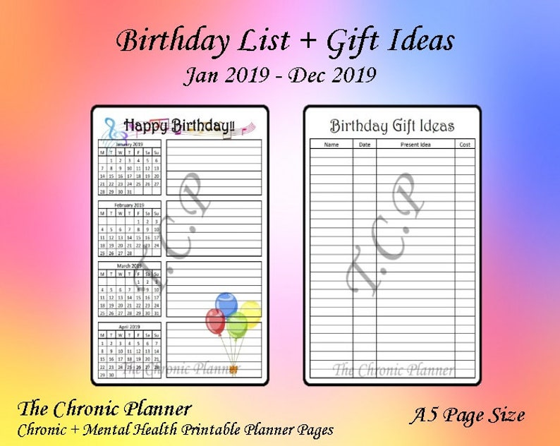 Birthday List With Present Idea Page