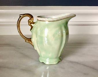 Vintage Rudolf Wächter Little Porcelain Creamer/Pitcher, Pearled Green with Gilt Handle
