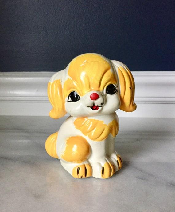 Vintage Ceramic Puppy Bank Piggy Bank Puppy Figurine Etsy