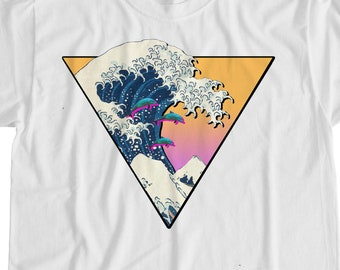 d271f679ae25a Great Wave of Kanagara Vaporwave Aesthetic T Shirt