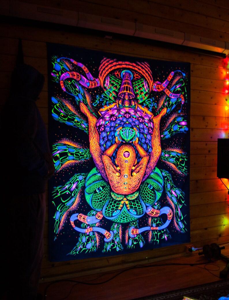 """UV Toile de fond /""""Serpent Vent/"""" Wall Hanging Decor Lumière noire Psychédélique Tapisserie"""