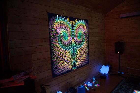 "Black light psychedelic tapestry wall hanging decor UV BACKDROP /""Snake Wind/"""