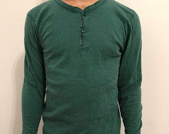 LL BEAN Vintage Long Underwear Green Shirt - Medium