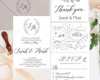 wedding map invitation set custom map invites wedding etsy