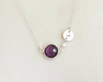 Birthstone Necklace, Initial Necklace, Amethyst Necklace, Personalized Jewelry, Custom Hand Stamped, February Birthstone, Sterling Silver,