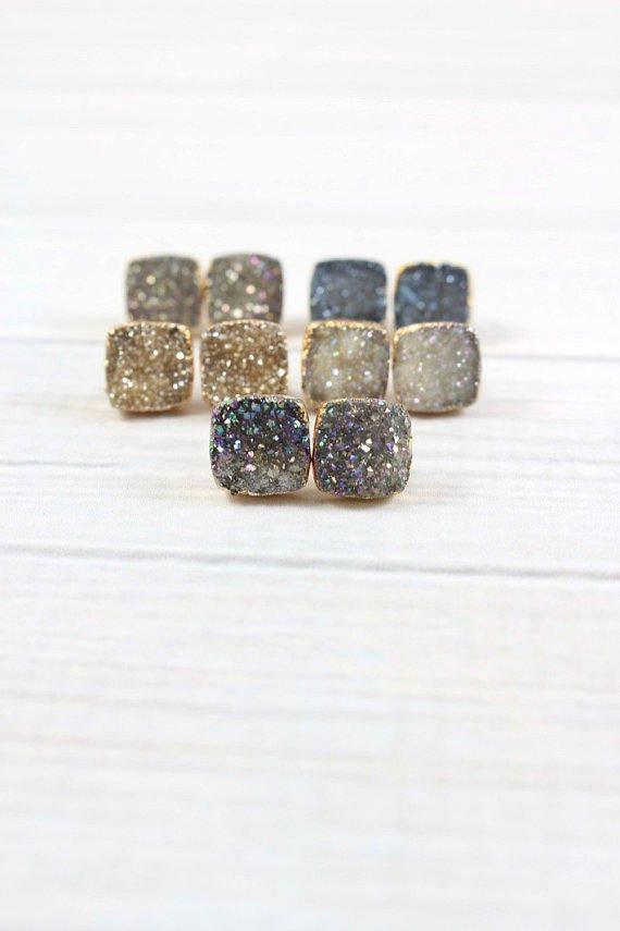 Gifts Gold Bridesmaid Earrings Small Crystal Earrings Bridal Jewelry Wedding Earrings Raw Stone Earrings Druzy Studs Druzy Earrings