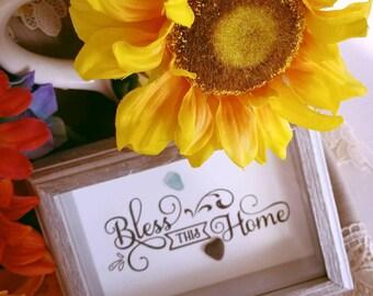Bless This Home Sea Glass Art Print